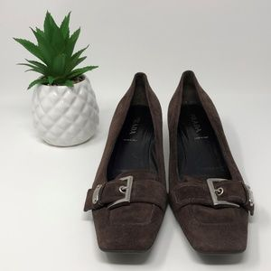 Prada Suede Buckle Front Heeled Loafer Brown 8.5